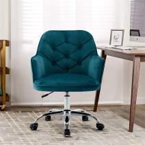 SSLine Modern Cute Desk Chair Home Office Mid-Back Computer Chair on Wheels Living Room Upholstery Leisure Chairs Elegant Velvet Fabric Swivel Chair Vanity Chairs for Girls Women -Teal