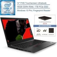 "2020 Lenovo ThinkPad T480s 14"" FHD Touchscreen Business Ultrabook Laptop Computer, 8th Gen Intel Quad-Core i7-8650U vPro, 16GB DDR4 RAM, 1TB PCIe SSD, Windows 10 Pro, EST External DVD + Accessories"