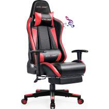 GTRACING Gaming Chair with Footrest, Massage, Bluetooth Speakers Ergonomic High Back Music Video Game Chair Heavy Duty Computer Office Desk Chair Red