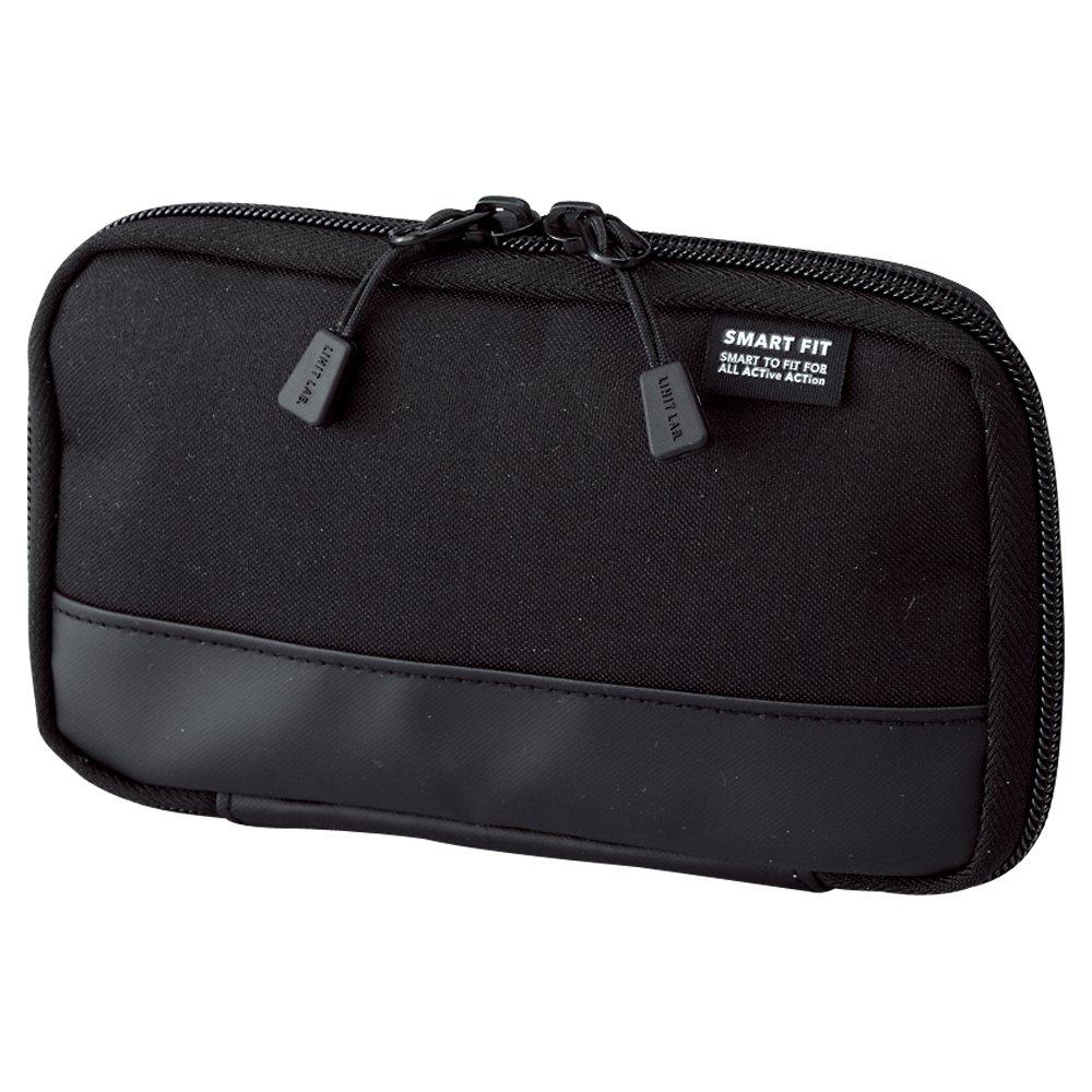 "LIHIT LAB Compact Pen Case (Pencil Case), Water & Stain Repellent,3.5"" x 6.5'', Black (A7687-24)"