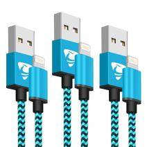 iPhone Charger Cable MFi Certified Aioneus iPhone Charger Lightning Cable 3pack 6FT Nylon Braided Fast iPhone Charging Cord for iPhone 11pro 11 Xs Max X XR 8 7 6s 6 Plus 5s SE 2020, iPad Mini/Air-Blue