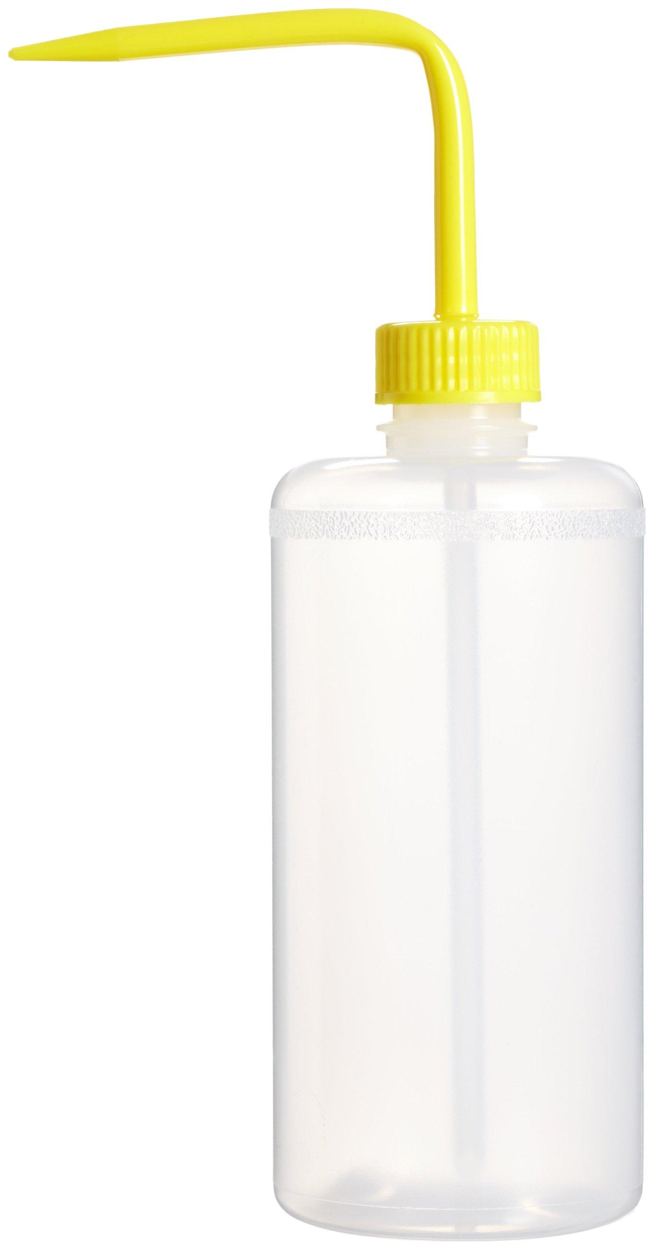 Bel-Art Narrow-Mouth 500ml (16oz) Polyethylene Wash Bottles; Yellow Polypropylene Cap, 28mm Closure (Pack of 6) (F11614-0500)