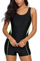 ALove Boyleg Athletic One Piece Swimsuits for Women UPF 50+ Sports Bathing Suits