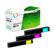 TCT Compatible Ink Cartridge Replacement for HP 981A Works with HP PageWide Enterprise Color 556dn 556xh, MFP 586z 586dn Printers (Cyan J3M68A, Magenta J3M69A, Yellow J3M70A) - 3 Pack