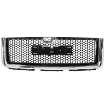 Grille Compatible With 2007-2013 GMC Sierra 1500 Denali, ABS Plastic Gloss & Chrome Front Bumper Upper Hood Grill By IKON MOTORSPORTS, 2008 2009 2010 2011 2012