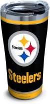 Tervis NFL Pittsburgh Steelers - Touchdown Stainless Steel Insulated Tumbler with Clear and Black Hammer Lid, 20 oz, Silver