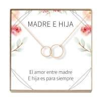 Collar Regalo Madre e Hija: Día de la Madre, Cumpleaños, Día de la Mujer, Mamá, 2 Asymmetrical Circles