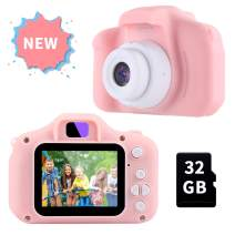 OMWay Gifts for 3 4 5 6 7 8 Year Old Girls, Camera for Kids, Toys for 5 6 7 8 Year Old Toddlers,Kids Christmas Easter Gifts, 12MP HD Video Camera, Pink(32GB SD Card Included).