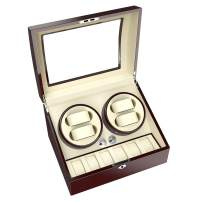 CRITIRON 4+6 Automatic Watch Winder Luxury Storage Case Rotating Display Box, Wood Shell with Piano Paint, Brown+White