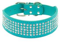 """Beirui Rhinestones Dog Collars - 2"""" Width with 5 Rows Full Sparkly Crystal Diamonds Studded PU Leather - Beautiful Bling Pet Appearance for Medium & Large Dogs"""