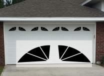 "Sanfurney 2 Car Magnetic Garage Door Windows Panes Sunburst Style Pre-Cut Faux Fake Decorative Window Decals, 8 Sections 14.6""x 7.6"""