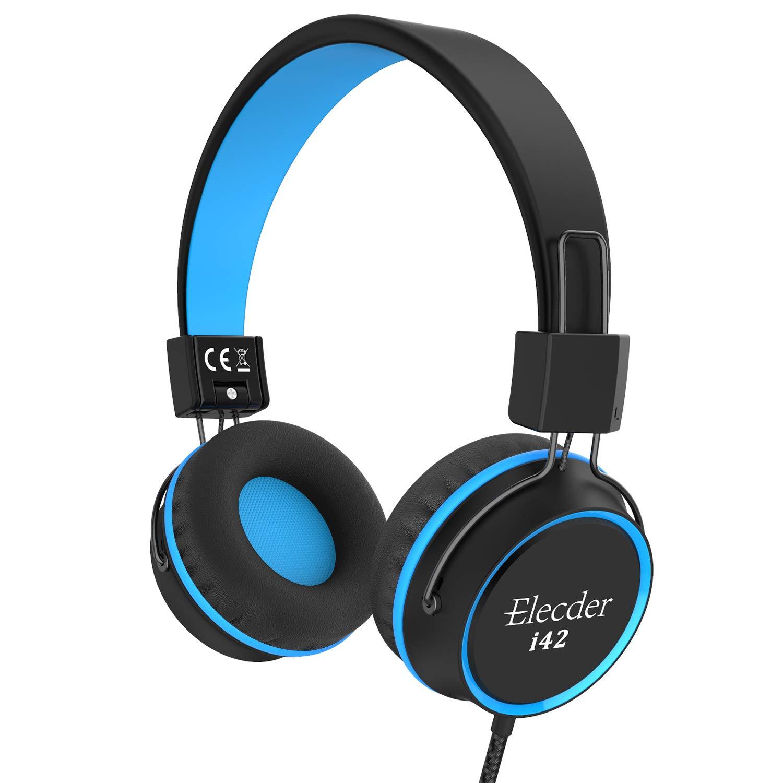 Elecder i42 Kids Headphones, Safe Volume Limited 85dB, Foldable Adjustable On Ear Headphones, 3.5mm Jack Compatible with iPad, Cellphones, Computer, MP3/4 Kindle Tablet Airplane School (Black/Blue)