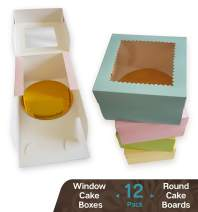CooKeezz Couture -Colored Window Cake Boxes 6x6x4 Decorated Boxes Auto Popup Great for Bakery, Pastries, Cupcake - Assorted 12 Pack Boxes in 4 Pastel Colors Included 12 Round Cake Boards.