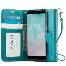 J&D Case Compatible for Google Pixel 3a XL Case, [Wallet Stand] [Slim Fit] Heavy Duty Protective Shockproof Flip Cover Wallet Case for Google Pixel 3a XL Wallet Case - [Not for Google Pixel 3a] - Aqua