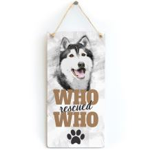 """Meijiafei Who Rescued Who - Rescue Dog Plaque for Alaskan Malamute Gifts 10""""x5"""""""