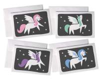 Colorful Pretty Pastel Alicorn Greeting Cards - Blue, Pink, Green, Purple Unicorn Cards for Birthdays & Baby Showers - 24 Cards with Envelopes