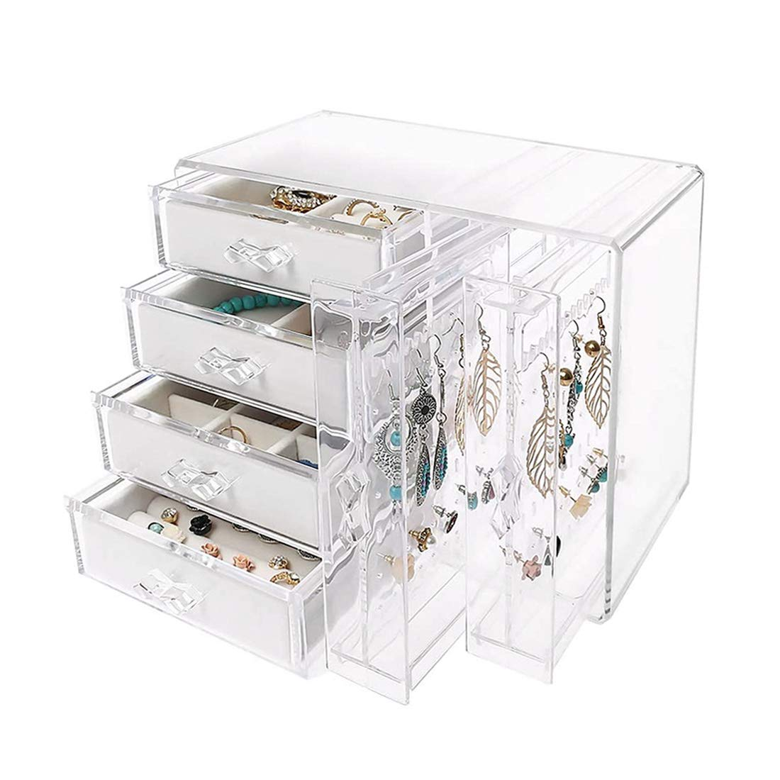 Jenseits Clear Jewelry Organizer Box Earrings Display Storage Case Acrylic Jewelry Box For Women Girls 2 Earrings Hanging Vertical Drawers And 4 Ice Velvet Drawers For Ring Necklace Bracelet