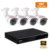 Tonton 8CH 5MP Home Security Camera System,8-Channel Ultra HD 4K 8MP DVR Recorder with 4×5.0MP Outdoor Waterproof Bullet Cameras,Smart Motion Detection with Email&App Alerts,Metal Housing(NO HDD)