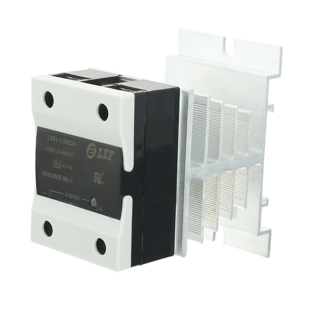uxcell LSR1-1-380DA 80A DC to AC 3-32VDC to 24-440AC SSR Thermal Compound Solid State Relay + HeatSink
