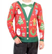 Christmas Cardigan with Bow Long Sleeve Ugly Christmas T-Shirt