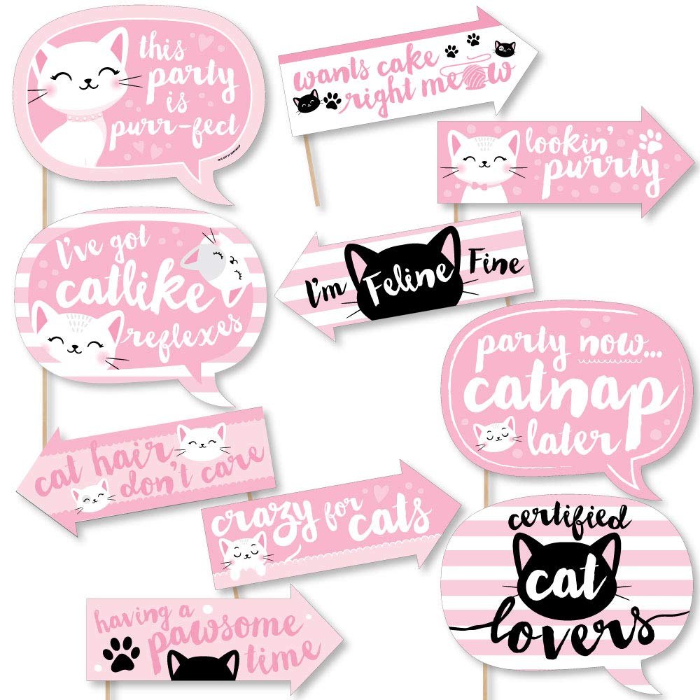 Big Dot of Happiness Funny Purr-fect Kitty Cat - Kitten Meow Baby Shower or Birthday Party Photo Booth Props Kit - 10 Piece