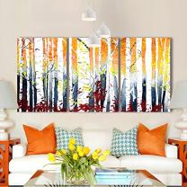 """wall26 - 3 Piece Canvas Wall Art - White Birch Trees - Watercolor Painting Style Modern Home Decor - 24""""x36""""x3 Panels"""