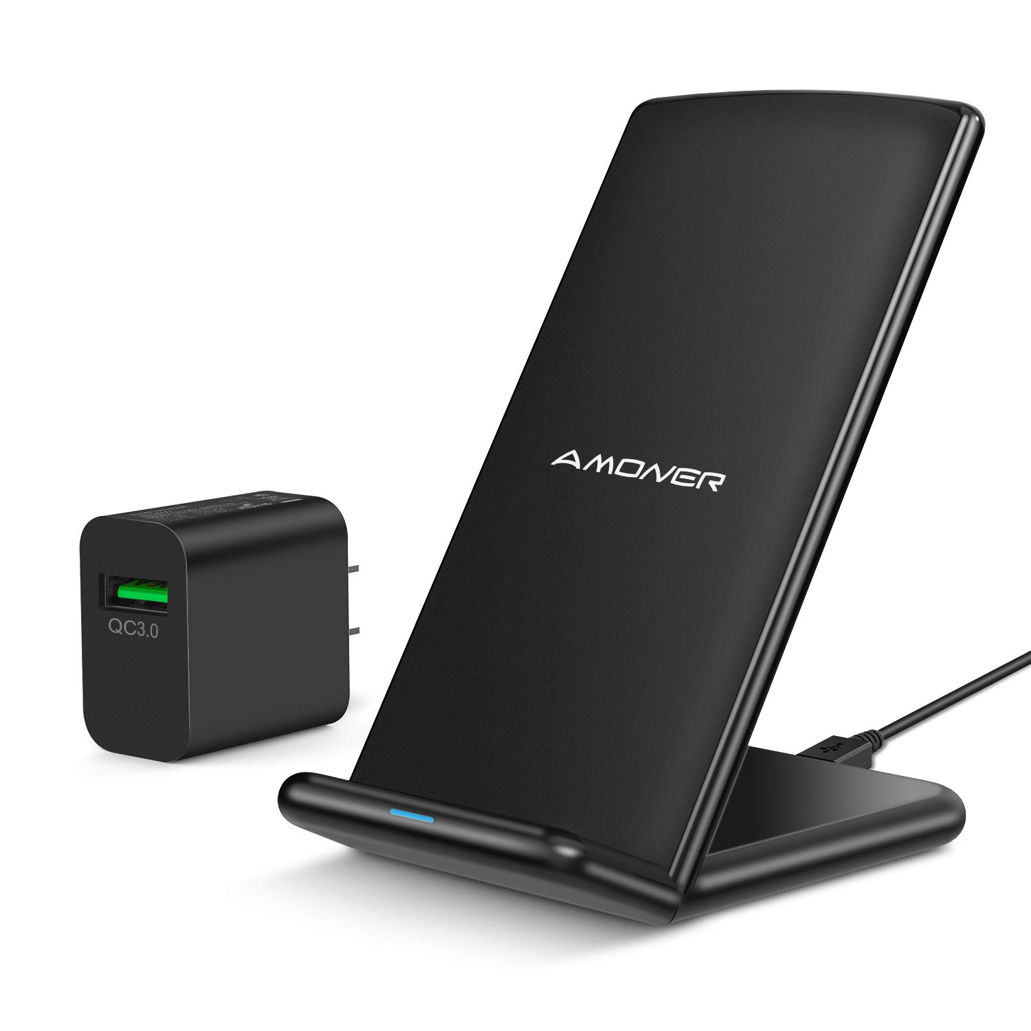 Amoner Wireless Charger, Qi-Certified 10W Wireless Charging Stand with 18W QC 3.0 Adapter Compatible with Galaxy S10/S9/S9+/S8/S8+, iPhone 11/11 Pro/11 Pro Max/Xs Max/Xs/XR/X/8/8Plus