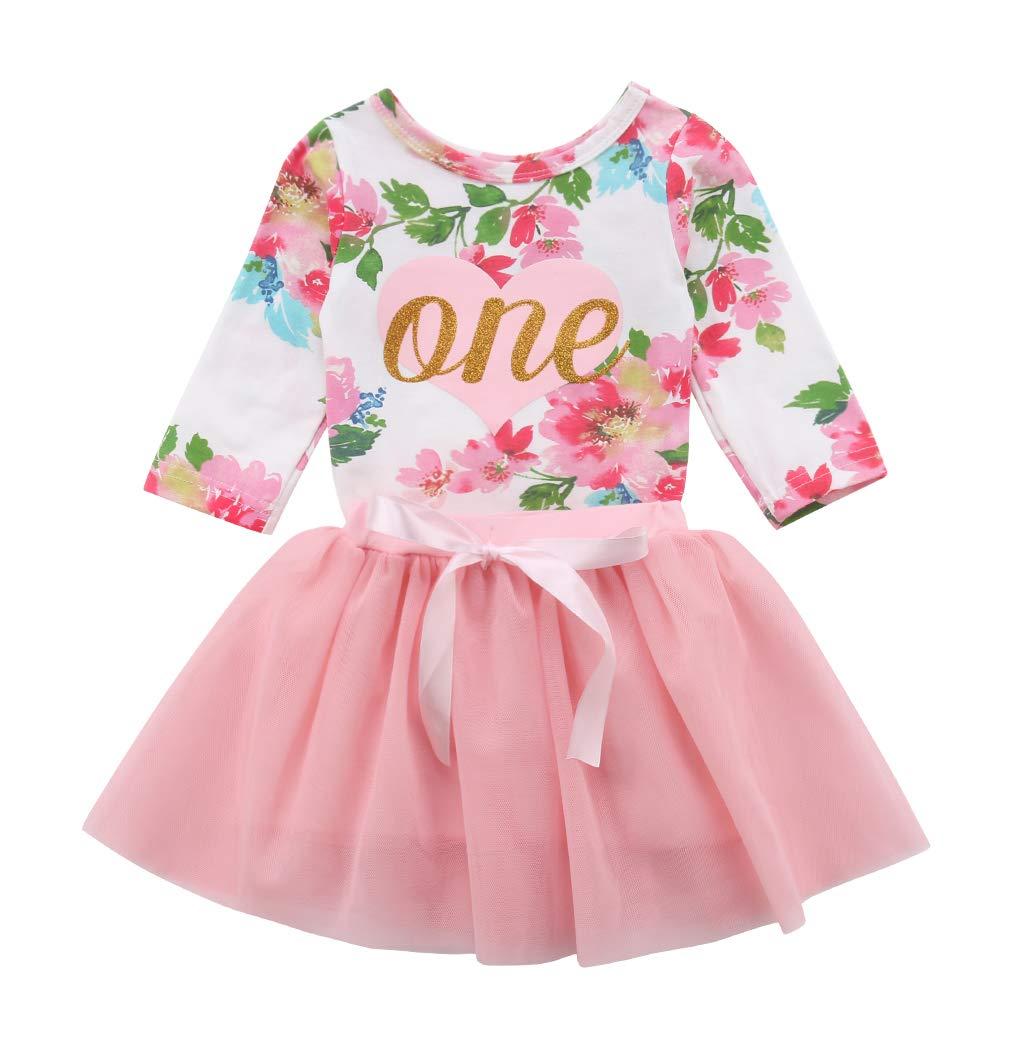 VISGOGO Newborn Baby Girls 1st Birthday Outfits Set Long Sleeve Floral Romper + Tulle Tutu Skirt Dress