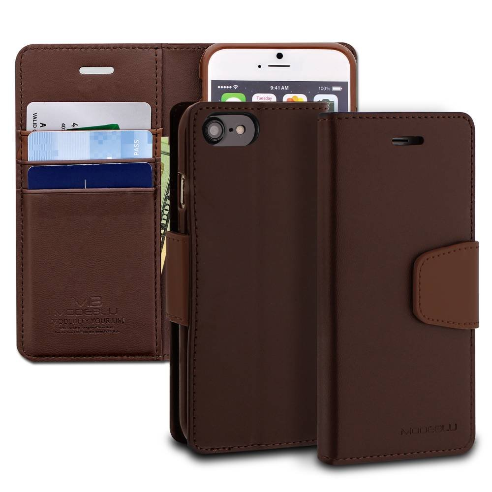 iPhone 7 Case, ModeBlu [Classic Diary Series] [Brown] Wallet Case ID Credit Card Cash Slots Premium Synthetic Leather [Stand View] for Apple iPhone 7 (2016)