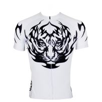 QinYing Mens Tiger Patterns King's Breathable Biking Cycling Jersey Top L White
