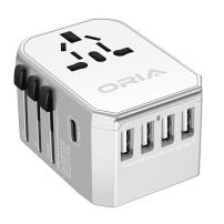Universal Travel Adpter, All-in-one International Power Adapter Fast Wall Charger, 2.5A 4 USB+3.0A Type-C, Covering 150+ Countries (EU UK USA AU Plug)