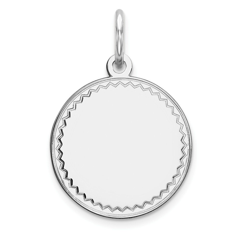 925 Sterling Silver Rhod Plated Eng. Rnd Polish Front Back Disc Pendant Charm Necklace Engravable Round Rimmed Edge Fine Mothers Day Jewelry For Women Gifts For Her