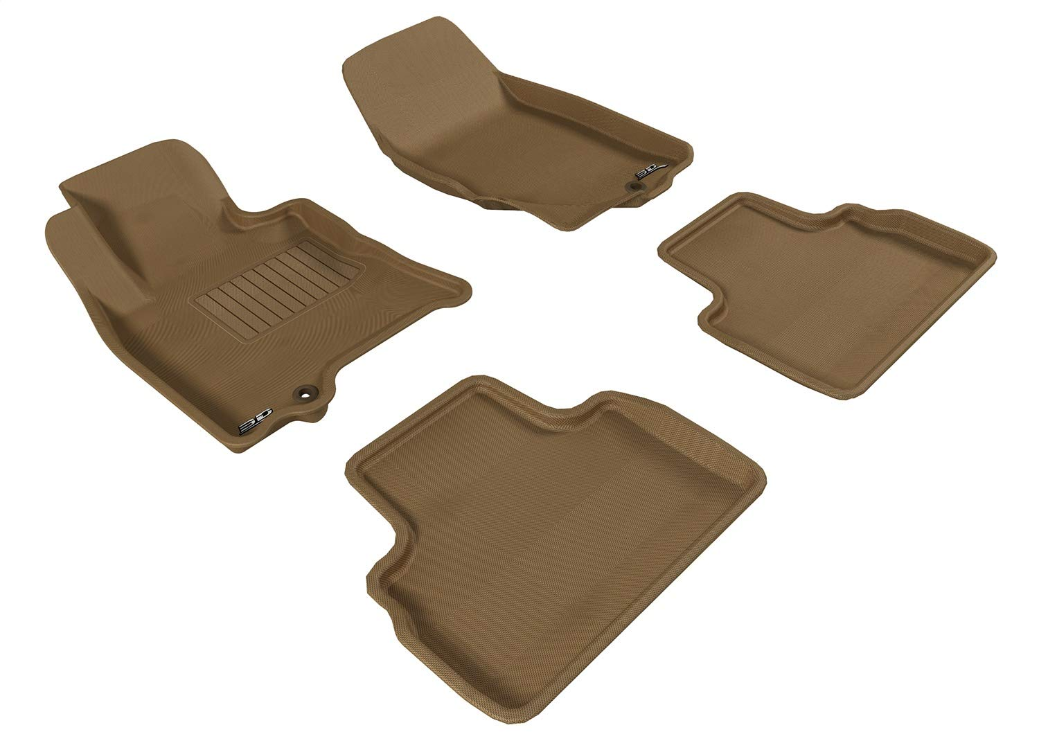 Tan 3D MAXpider Second Row Custom Fit All-Weather Floor Mat for Select Chevrolet Camaro Models Kagu Rubber