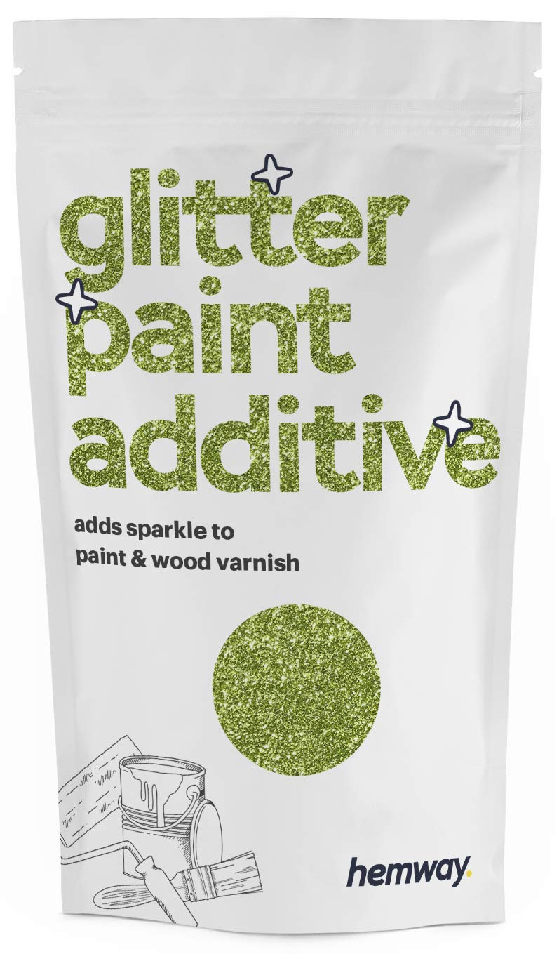 Hemway (Lime Green) Glitter Paint Additive Crystals 100g / 3.5oz for Acrylic Latex Emulsion Paint - Interior Exterior Wall, Ceiling, Wood, Varnish, Dead Flat, Matte, Gloss, Satin, Silk