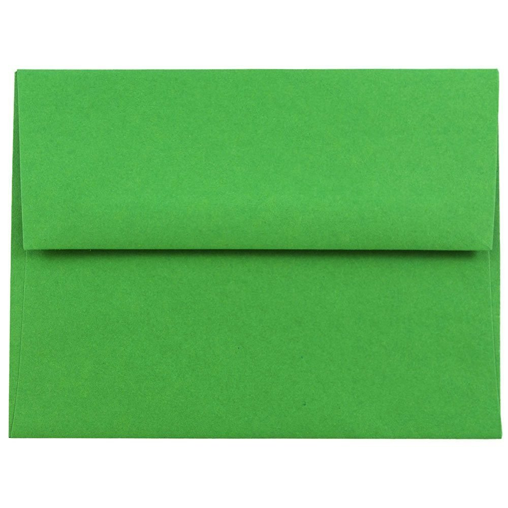 JAM PAPER A2 Colored Invitation Envelopes - 4 3/8 x 5 3/4 - Green Recycled - 100/Pack