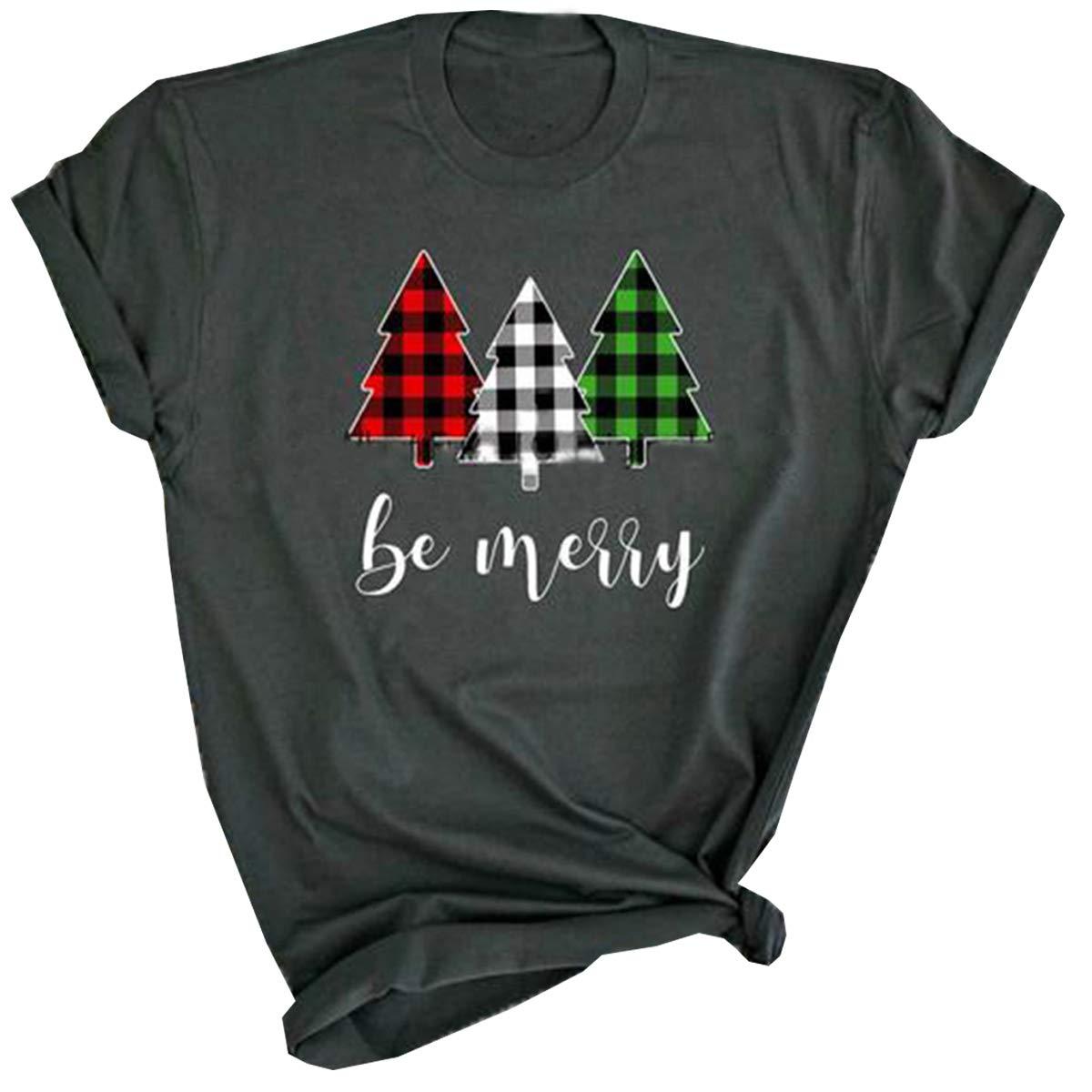 UNIQUEONE be Merry Shirt Women Leopard Plaid Christmas Tree Tshirt Letters Print Casual Holiday Tee Shirts