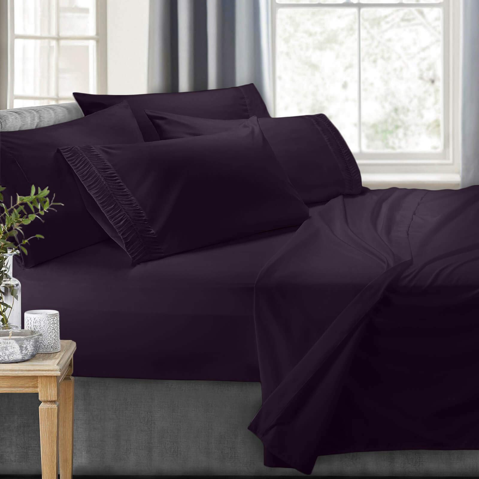 Clara Clark 7-Piece Bed Sheets - Luxury Pleated Sheets Set, Bedding Sheet Set, 100% Soft Brushed Microfiber Flat Sheet, Fitted Sheet, Pillowcases Cool & Breathable - Split King - Eggplant