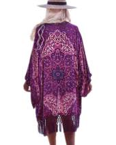Barlver Womens Chiffon Kimono Cardigan Swimsuit Open Front Long Cover Up Shawl Bikini Beachwear Dress Purple