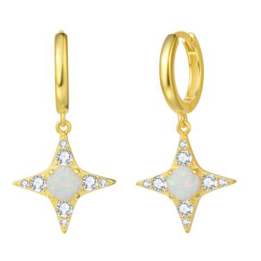 Silver Plated Drop EARRINGS With Gold Silver Star Charms And Pillow Gift Box