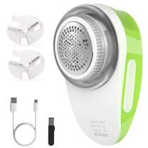 Rechargeable Fabric Shaver and Lint Remover, Atemto Electric Sweater Defuzzer Pill Fuzz Remover for Clothes and Furniture 2 Replaceable Stainless Steel Blades, Green