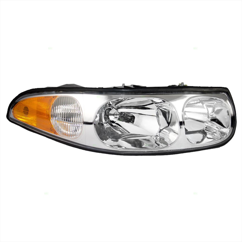 Aftermarket Replacement Passenger Headlight with Fluted High Beam Compatible with 2000-2005 LeSabre 19245372