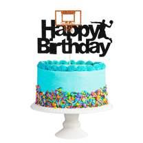 Black Glittery Happy Birthday Basketball Cake Topper,Basketball Sports Themed Birthday Cake Decorations Supplies