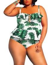leyay Women's Plus Size Swimsuit 2 Piece Floral Printed Ruffle Tummy Control Peplum Tankini Beach Swimwear