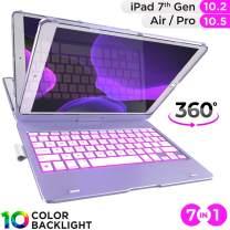 iPad Keyboard Case for iPad 10.2 2019, iPad Air 10.5 2019, iPad Pro 10.5 2017 - Backlit - 360 Rotatable - Wireless - iPad 7th Generation Case with Keyboard - iPad Air 3rd Generation (Light Purple)