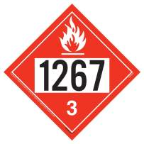 "1267 Placard, Class 3 Flammable Liquid - 10.75"" x 10.75"" Polycoated Tagboard for Temporary Applications - J. J. Keller & Associates - Complies with DOT Hazmat Placard Requirements"