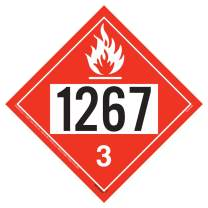 "1267 Placard, Class 3 Flammable Liquid 10-pk. - 10.75"" x 10.75"" Polycoated Tagboard for Temporary Applications - J. J. Keller & Associates - Complies with DOT Hazmat Placard Requirements"
