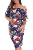 AMPOSH Women's Maternity Off Shoulder Dress, Ruffle Trim Sleeveless Fitted Dress for Photoshoot