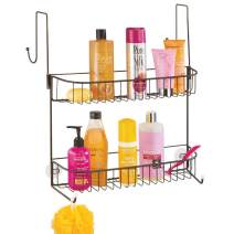mDesign Extra Wide Metal Wire Over The Bathroom Shower Door Caddy, Hanging Storage Organizer with Built-in Hooks and Baskets on 2 Levels for Shampoo, Body Wash, Loofahs, Rust Resistant - Bronze