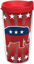 Tervis 1216005 Republican Elephant Tumbler with Wrap and Red Lid 16oz, Clear