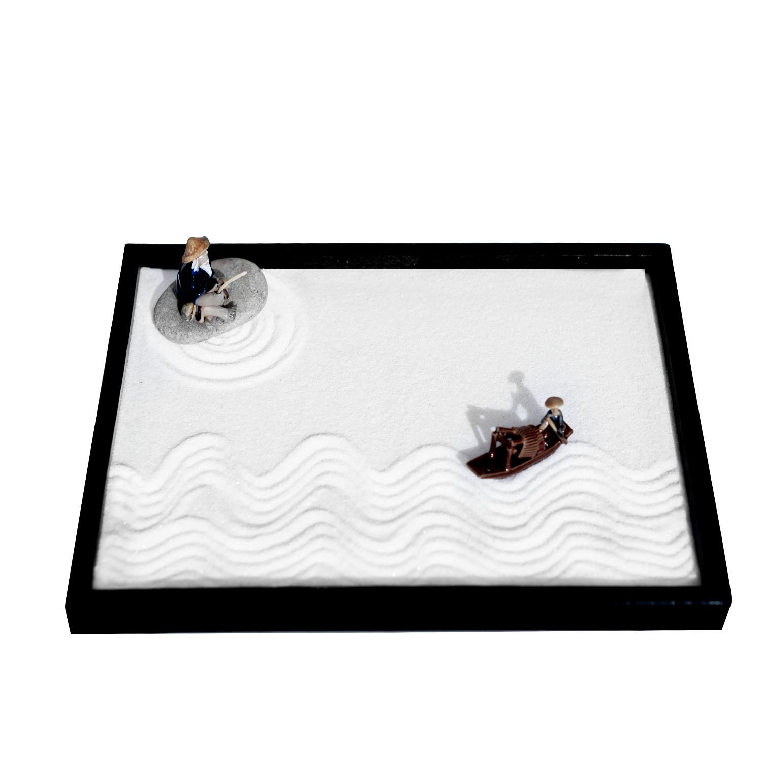 ICNBUYS Zen Garden Fisher Men Set with Free Rake Sand Pushing Pen and Bamboo Drawing Pen Base Tray Dimensions 10 x 7 x 0.4 inches